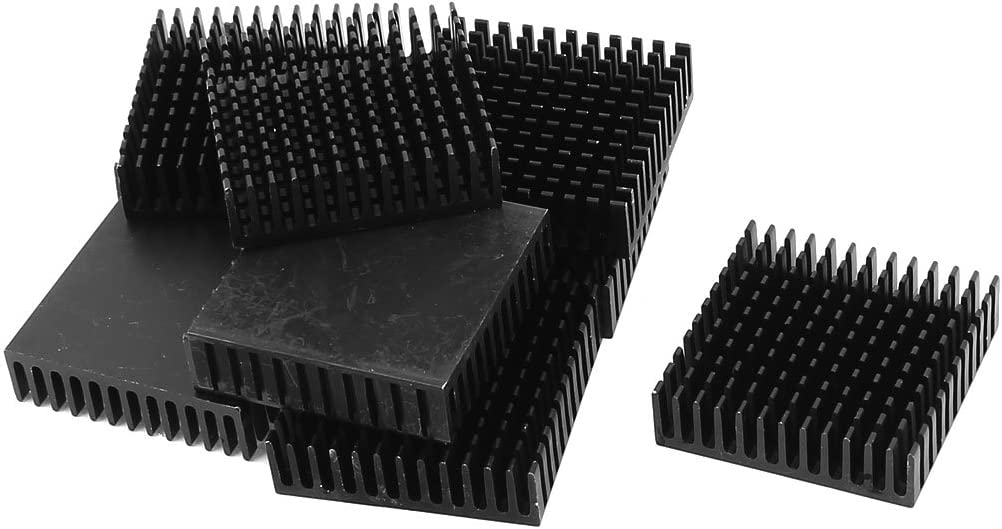 uxcell 10 Pcs Aluminium 40 x 40 x 11mm Square Heatsink Cooling Cooler Fin Black