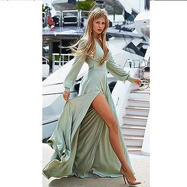 Vestido de Mujer Vestido Bohemio con Cuello en v Costura Abierta ...