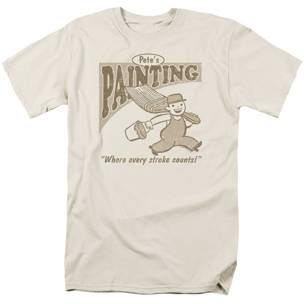 098fea9af Amazon.com: ExpressBeyond Pete's Painting Cotton Funny T-Shirt Cream Adult  Men's Unisex Short Sleeve T-Shirt: Clothing