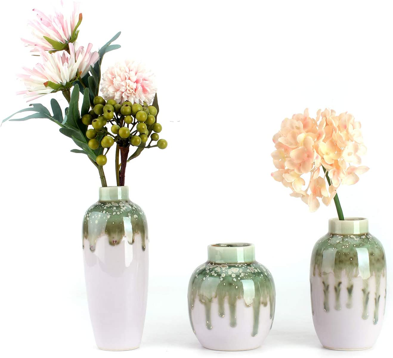 Ceramic Flower Vases Set of 3 for Home Décor, Special Design Style of Color Glazed,Light Pink