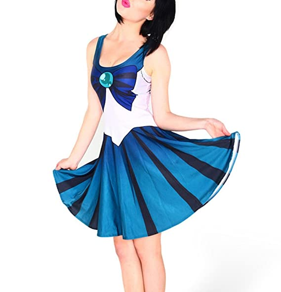 pinbo women halloween sailor moon cosplay costume pleated stretchy dress blue