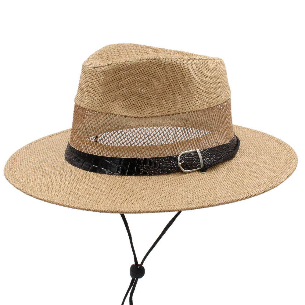 2019 Women Men Straw Sun Hat with Mesh Dad Panama Hat for Beach Sunbonnet Jazz Hat with Wind Rope