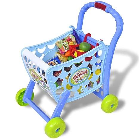 vidaXL Carrito de la Compra de Juguete 3 en 1 para niños Color Azul Material plastico