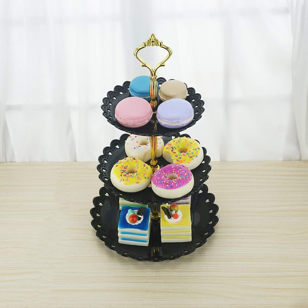 Hotoco 3 Tier Black Plastic Dessert Stand Pastry Cake Cupcake Holder Serving Platter