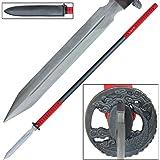 Traditional Japanese Straight Yari Damascus Steel Spear