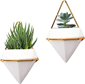 2 Pack Hanging Planter Vase Geometric Wall Decor Ceramic Container Wall Planters Hanging with Metal Frame for Succulent Plants Air Plant Mini Cactus Faux Plants (Small, White+Gold)