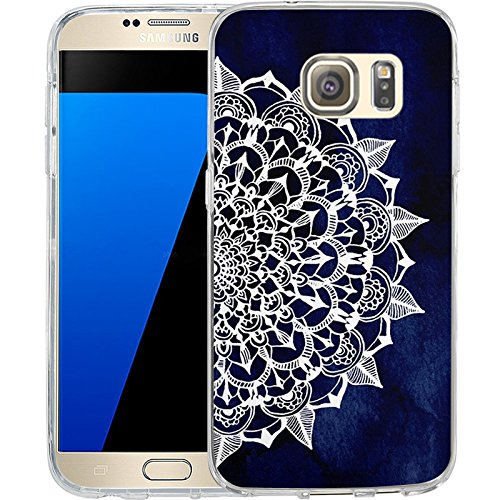 S7 Case Midnight Blue Maya Mandala, LAACO Scratch Resistant TPU Gel Rubber Soft Skin Silicone Protective Case Cover for Samsung Galaxy S7