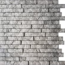 """Ledge Stone 3D Wall Panels - lightweight thermoplastic decorative 3D Wall Tiles for easy Glue Up installation. Sparkled Grey Color. 1 Panel ( 24""""*24"""" covers ~4 sq. ft)"""