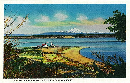 Whidbey Island and Mt. Baker from Port Townsend Art Print, Wall Decor Travel Poster