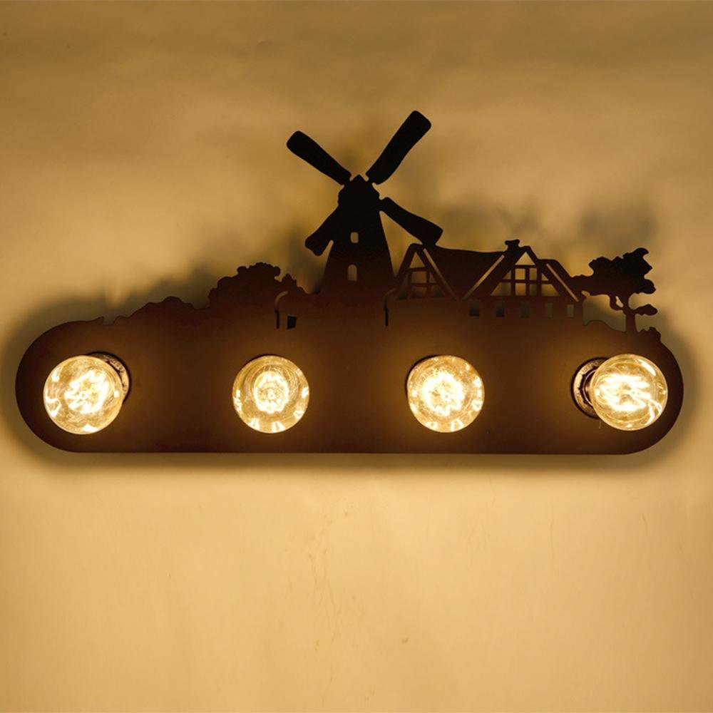 Ming Landschaftswandlampe amerikanisches Land Retro Nachttischlampe industrielle Wohnzimmer Schlafzimmer Gang Treppe kreative Persönlichkeit Spiegel Scheinwerfer, D