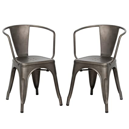 Amazon.com: Metal Dining Bistro Cafe Side Chairs,Indoor/Outdoor ...
