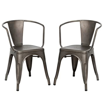 VIVA HOME Metal Dining Bistro Cafe Side Chairs,Indoor/Outdoor Chair, Set Of
