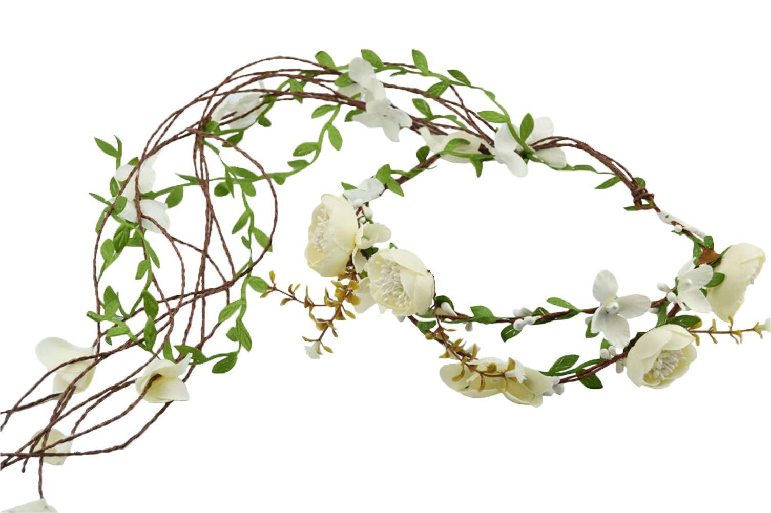 Vivivalue Handmade Boho Flower Headband Hair Wreath Halo Floral Garland Crown Headpiece with Ribbon Festival Wedding White