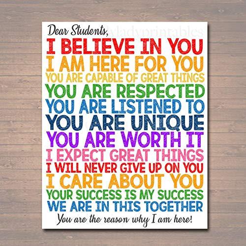 Mia Rita Dear Students Classroom Teacher Poster Sign, School Counselor Digital Art, School Social Worker, Principal Office Decor,
