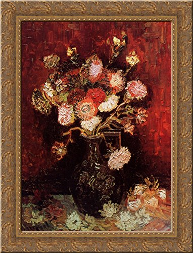 - Vase with Asters and Phlox 24x18 Gold Ornate Wood Framed Canvas Art by Vincent van Gogh