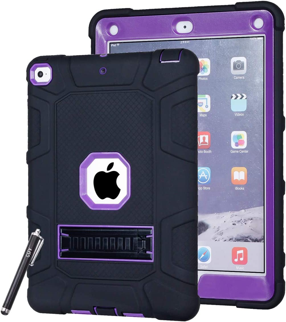 New iPad 9.7 2017 Case, Newshine [Kickstand] 3 in 1 Heavy Duty Armor Defender Shockproof PC & Soft Silicone Hybrid Protective Case Cover for Apple New iPad 9.7 inch 2017 Tablet (ZQ Black+Purple)
