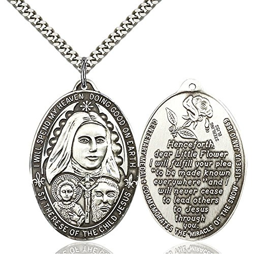 Bonyak Jewelry Sterling Silver St. Therese Pendant 1 3/8 x 1 inches with Heavy Curb Chain