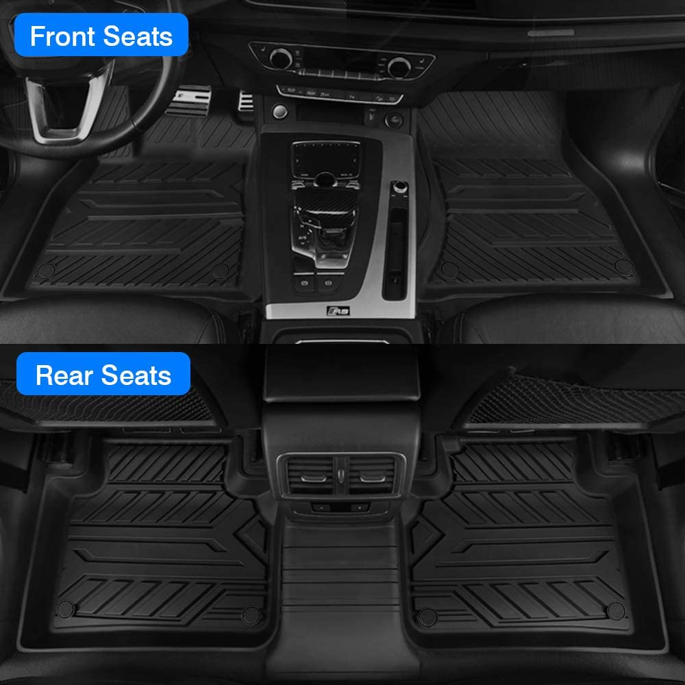 Mixsuper TPE Floor Mat Custom Fit for 2020 Audi Q5 2018 2019 2021 All Weather Heavy Duty Durable Odorless Carpet Liner Set