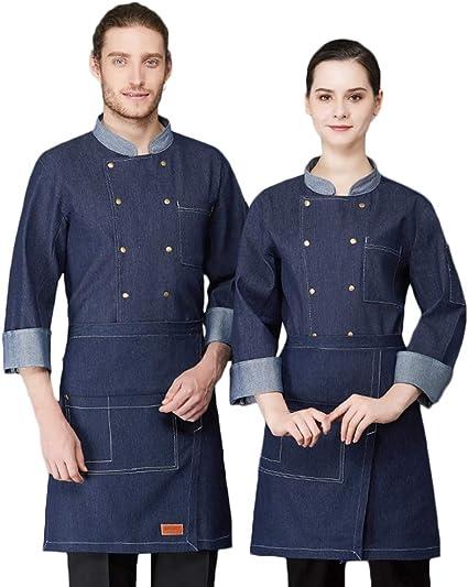 Camisa de Cocinero Cocina Uniforme Manga Larga Transpirable ...