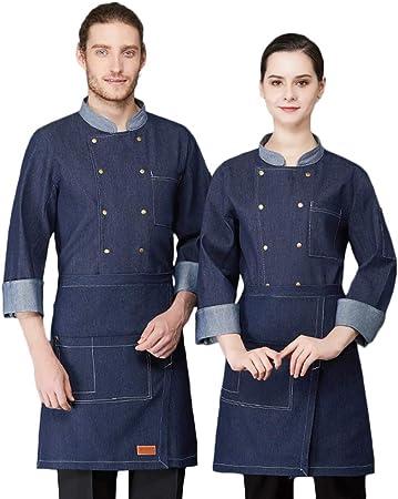 Camisa de Cocinero Cocina Uniforme Manga Larga Transpirable Azul Negro Disfraz de Chef Algodón Protección Del Medio Ambiente Sin Desvanecimiento,Azul,L: Amazon.es: Hogar