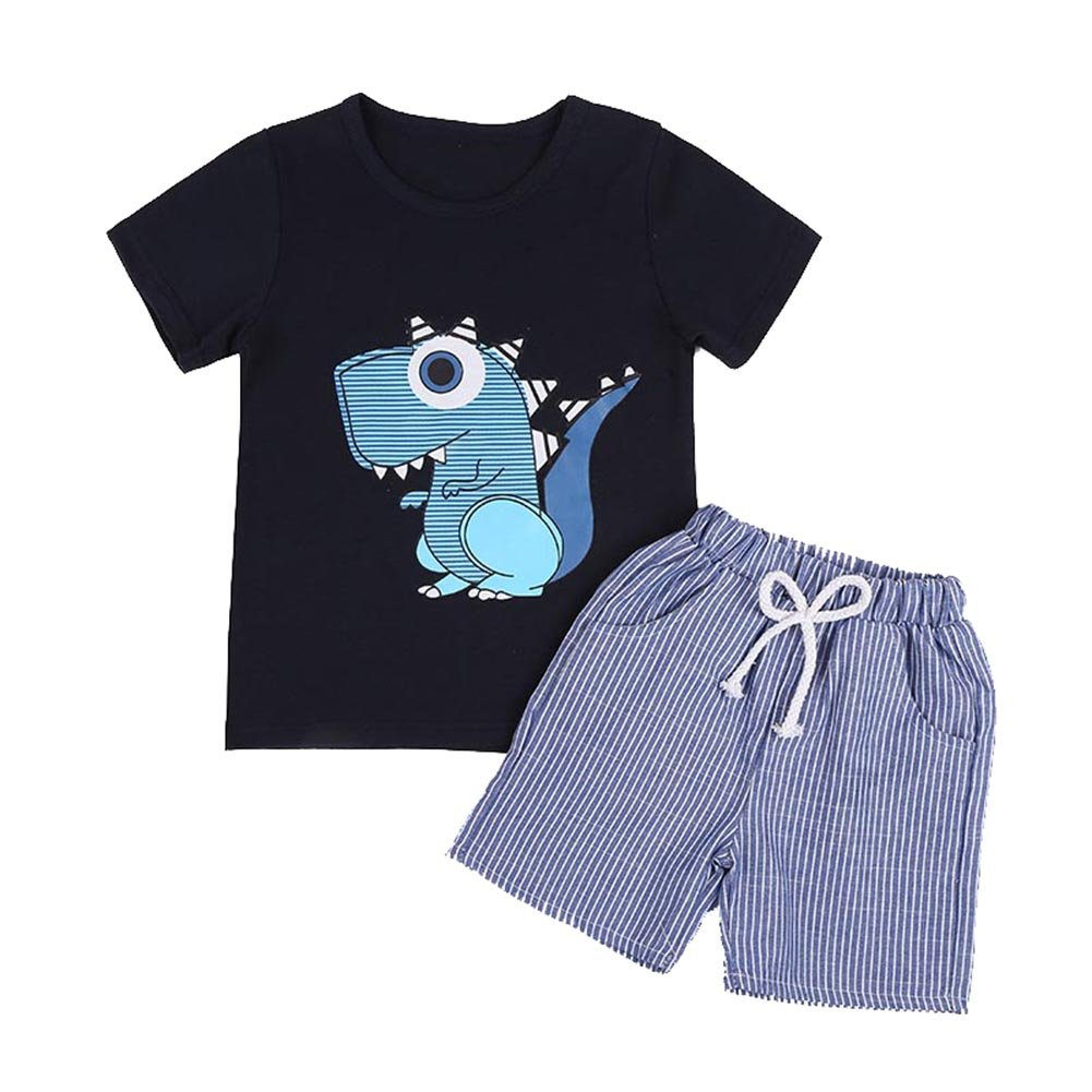 BOBORA Baby Boy Kids Summer Clothes Set Cartoon Whale Short Sleeved Tops with Elastic Striped Short Pants BO-UK072