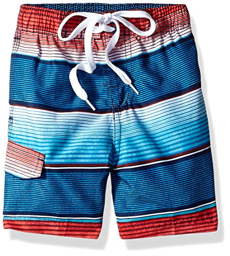 Kanu Surf Toddler Boys' Echo Quick Dry Beach Swim Trunk, Pipeline Navy/Red, 2T