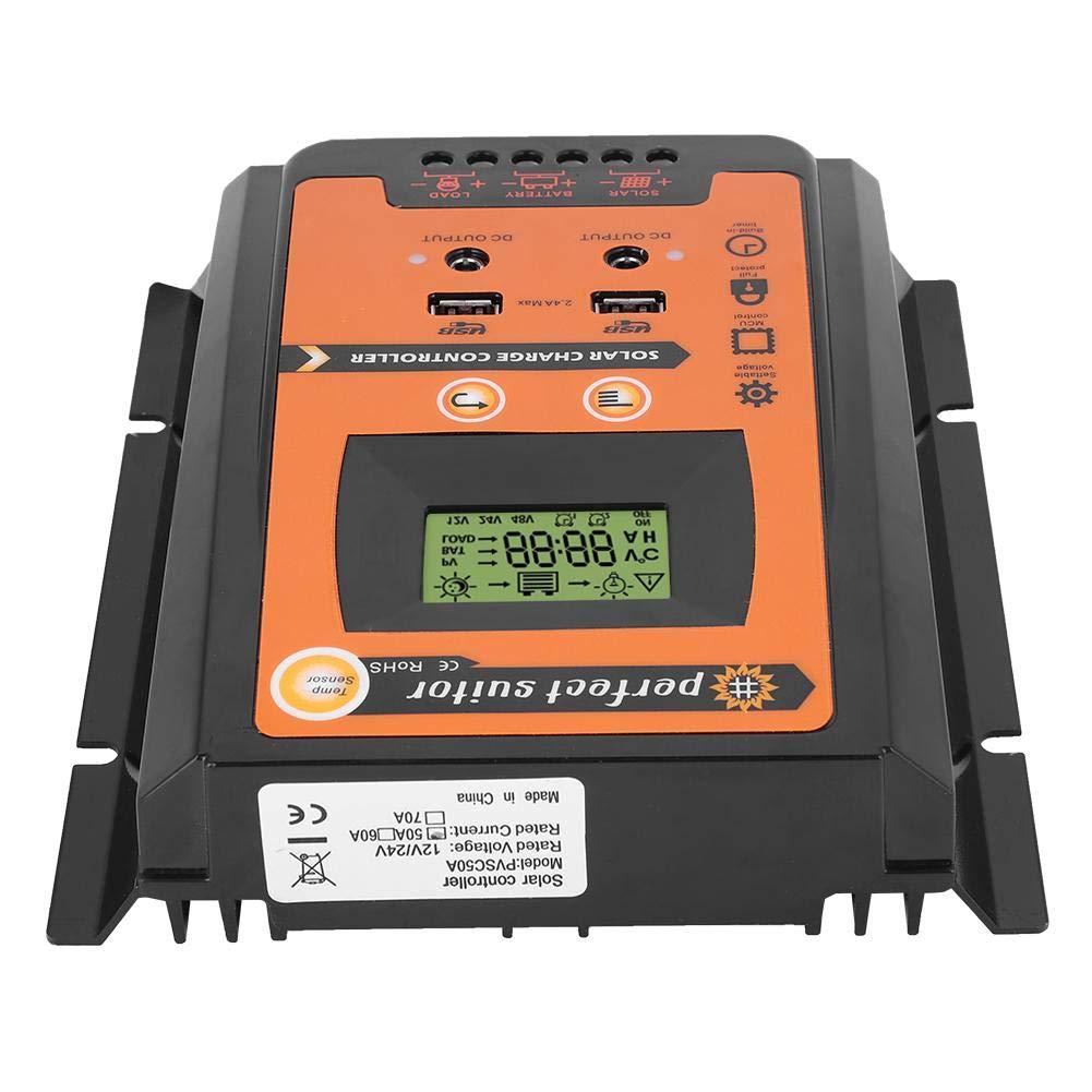 70A 24V 30A50A Panel solar Regulador de bater/ía Dual USB Pantalla LCD Controlador de carga solar MPPT 12V