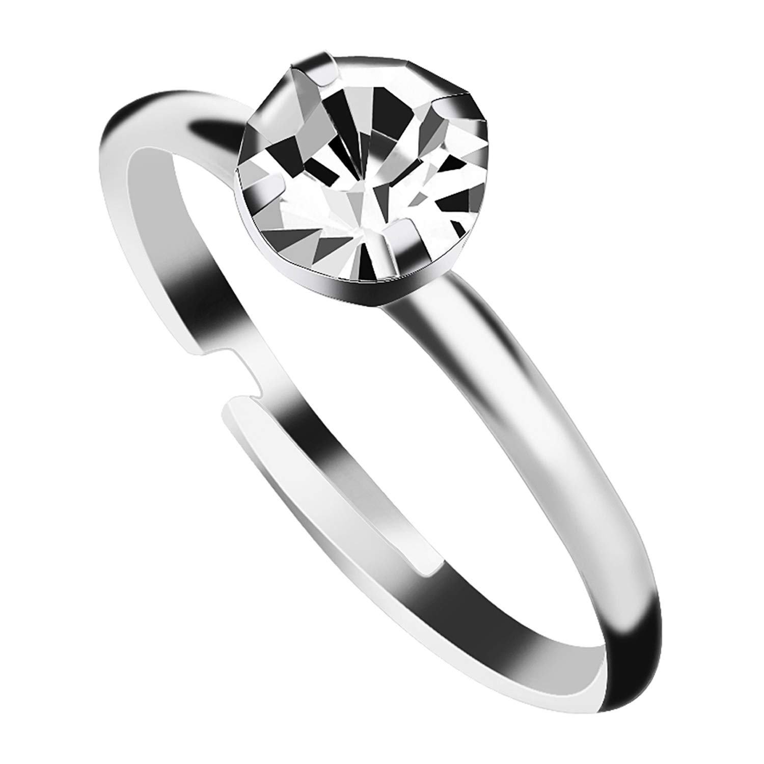 Aboat 100 Pack Silver Diamond Bridal Shower Rings for Wedding Table Decorations, Party Favors