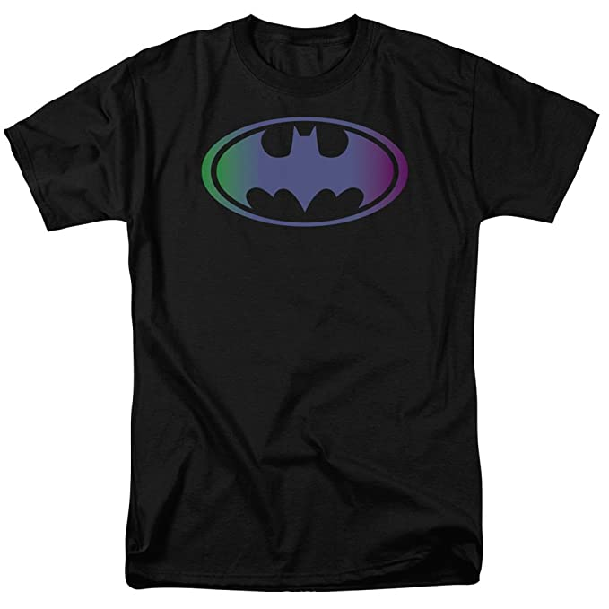 2bfac88b6 Amazon.com: Batman Sheldon Neon Color Gradient Logo Black T-Shirt ...
