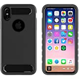 Iphone X case cover, Celkase™,[Pentagon Logo Cut] Slim Fit Hybrid Shock Absorption With Extreme Heavy Duty Protection Built-in [Kickstand] Impact Resistant [Rugged] Protective Case for iPhone X- 4.8''( Black)