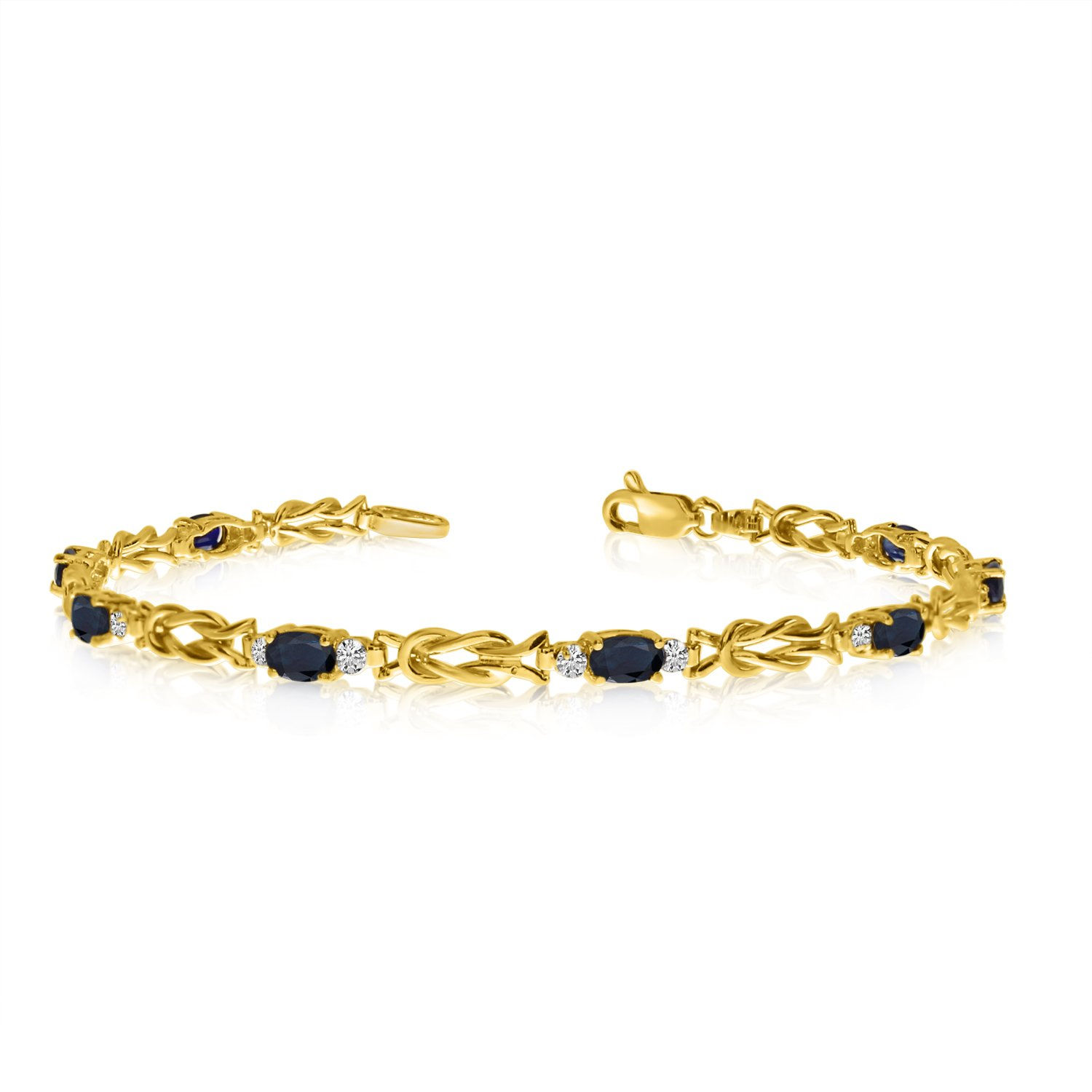 14K Yellow Gold Oval Sapphire and Diamond Bracelet (9 Inch Length) by Direct-Jewelry