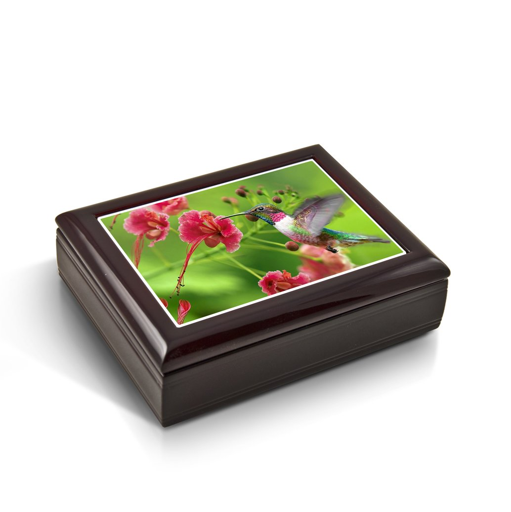 Frozen in Time; Hummingbird Tile Musical Jewelry Box - Over 400 Song Choices - Parade of The Wooden Soldiers
