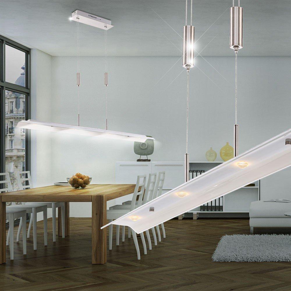 LED 20 Watt Hnge Pendel Leuchte Glas Klar Silber Wohnzimmer Lampe Edel Globo 67807H Amazonde Beleuchtung