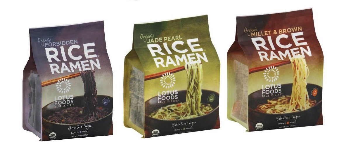 Lotus Foods Organic Rice Ramen Noodles, 10 Ounce Variety Pack of 3, Jade Pearl, Miller/Brown Rice and Forbidden, one of each by Lotus Foods