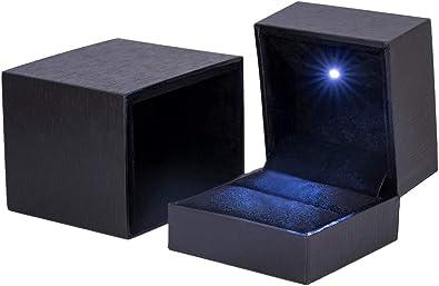 D.Perlla - Caja de Terciopelo para Anillos con luz LED, Caja de ...