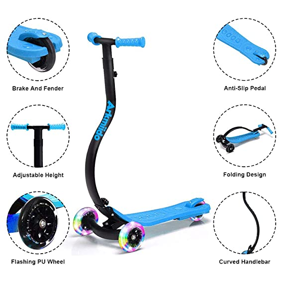 Kick Scooter for Toddler,Girls & Boys Adjustable Height Kids Scooter LED Light Flashing PU Wheels Prevent Collision for Children Age 3-14 Years Old ...