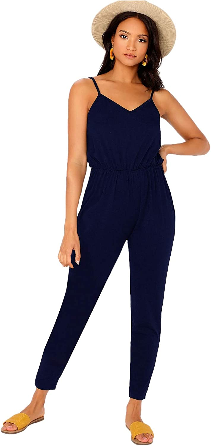 DIDK Womens Spaghetti Strap V Neck Sleeveless Solid Cami Jumpsuits