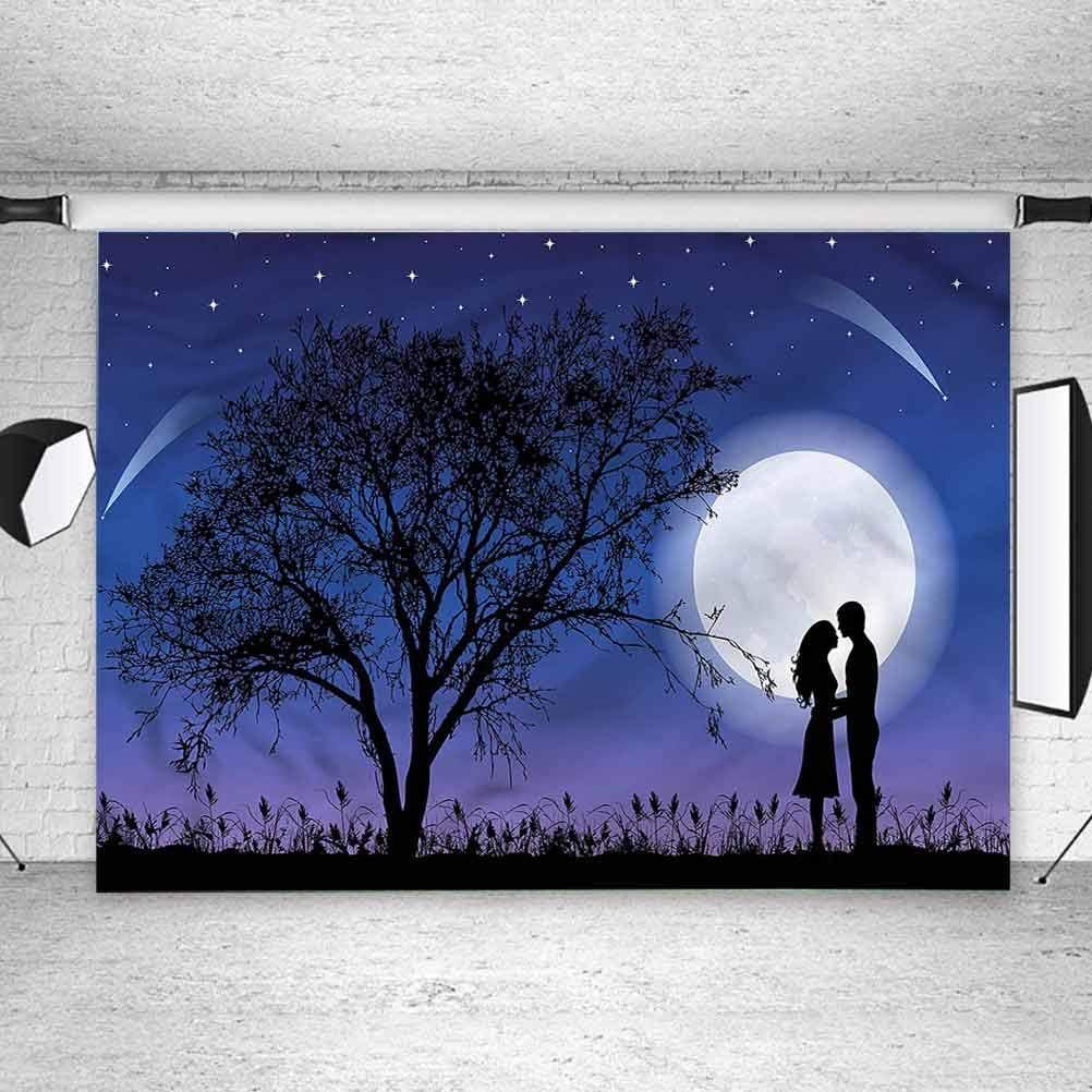 5x5FT Vinyl Photography Backdrop,Night,Romantic Man Woman Hug Photoshoot Props Photo Background Studio Prop