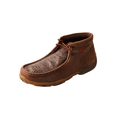 Twisted X Women's Chukka Leather Driving Moccasins, Brown/Brown Print, 9.5 Medium: Sports & Outdoors