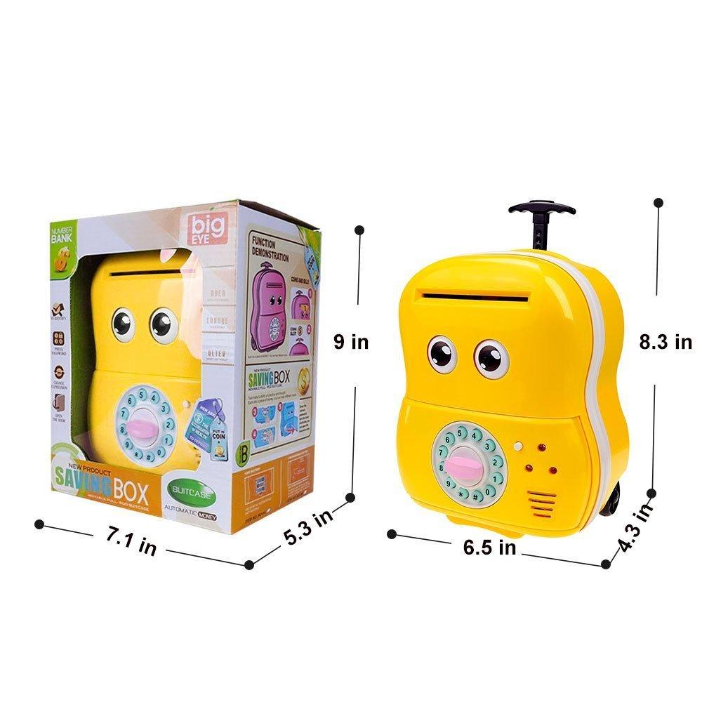 Rot 3D Puzzles Jhua Spardose mit Passwort Zähler für Kinder Mädchen Sparschwein Gelds