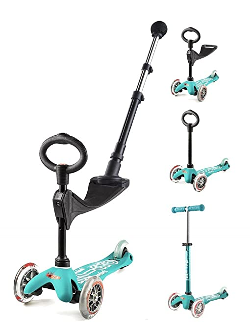 Patinete Mini Micro 3 en 1 Push Bar Deluxe Aqua: Amazon.es ...
