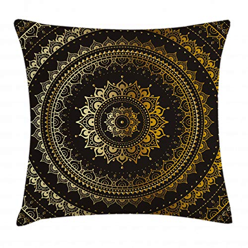 Ambesonne Gold Mandala Throw Pillow Cushion Cover by, Indian Asian Flora Meditation Cosmos Universe Themed Circles Artwork, Decorative Square Accent Pillow Case, 16 X 16 Inches, Gold Black Yellow -