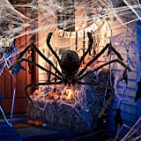 Unomor Halloween Spider Scary Hairy Spiders for Outdoor Halloween Decorations or Haunted House Decor (Giant Halloween Spider)