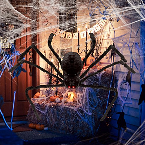 Unomor Halloween Spider with LED Eyes and Sound for Haunt Outdoor Spider Halloween Decorations - -