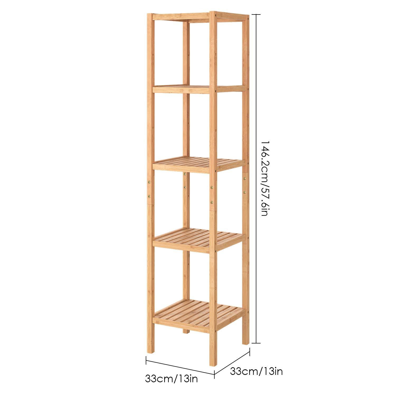 Homfa Bambus Badezimmerregal schmal Badregal mit 5 Ebenen Küchenregal verstellbar 33x33x146.3cm