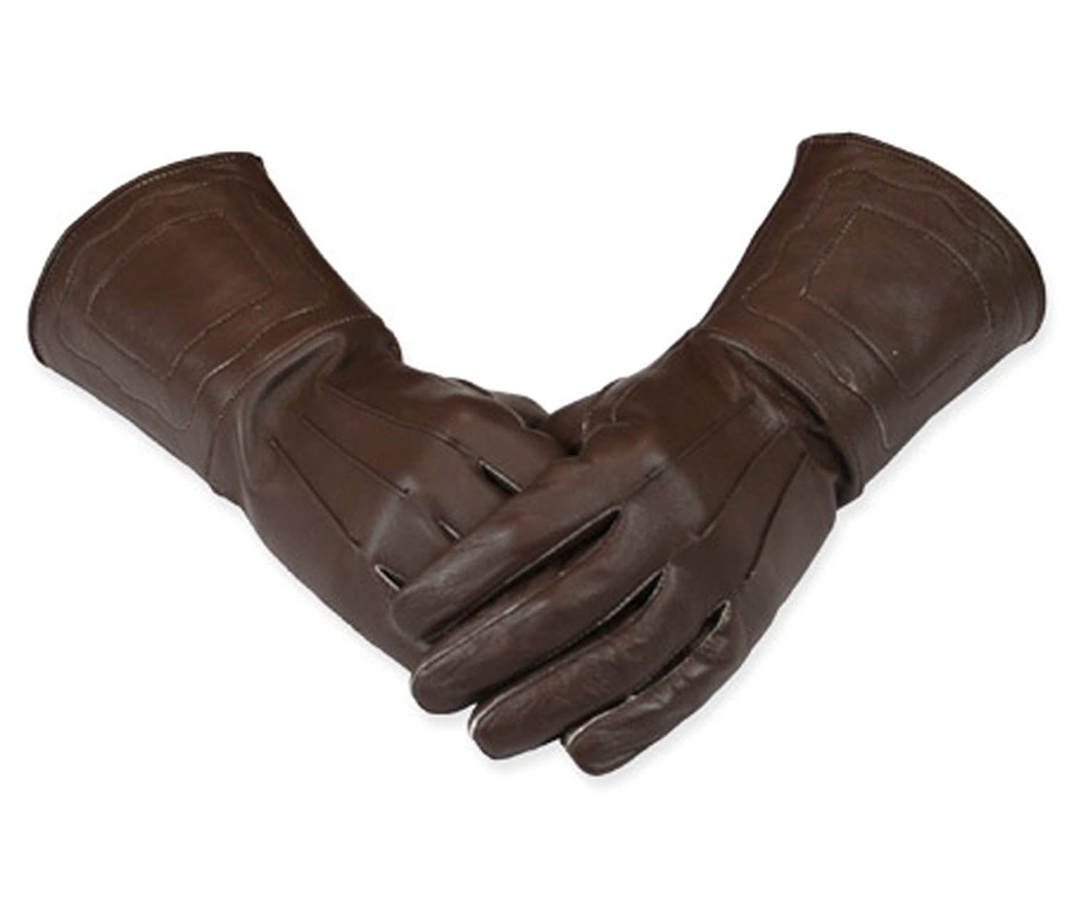 Renaissance Men Genuine Brown Leather Gauntlet Gloves