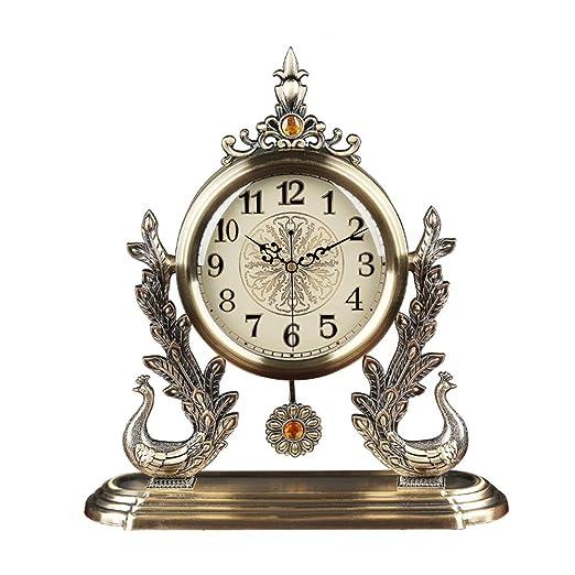 KJH Reloj de Mesa, Reloj de Escritorio con Pendular, Metal Europeo ...