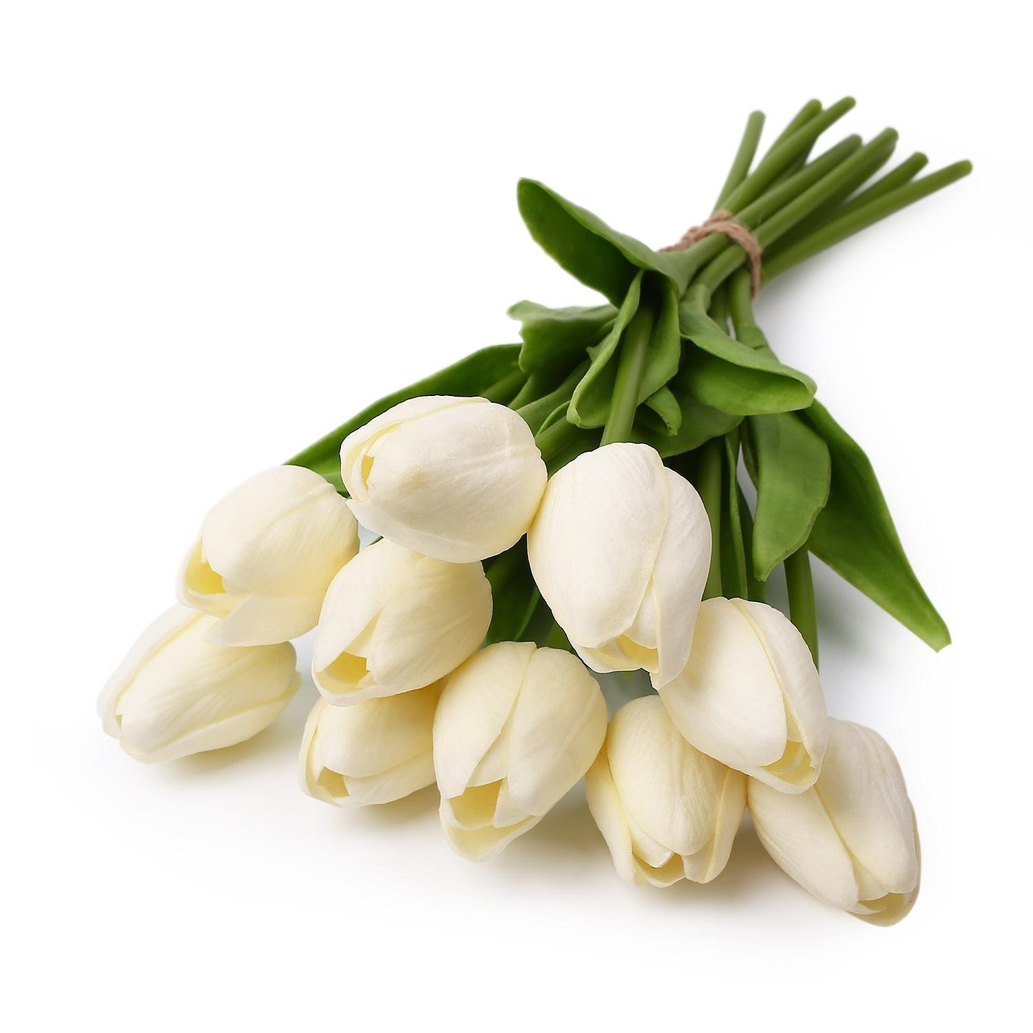 Amazon 10 Pcs White Tulip Flower Latex Real Touch For Wedding
