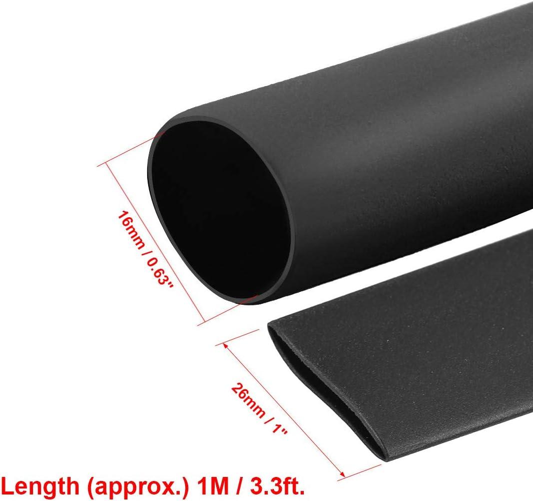 sourcing map Gaine thermor/étractable 2:1 tube isol/é /électro c/âble 16mm Dia 1m Long noir