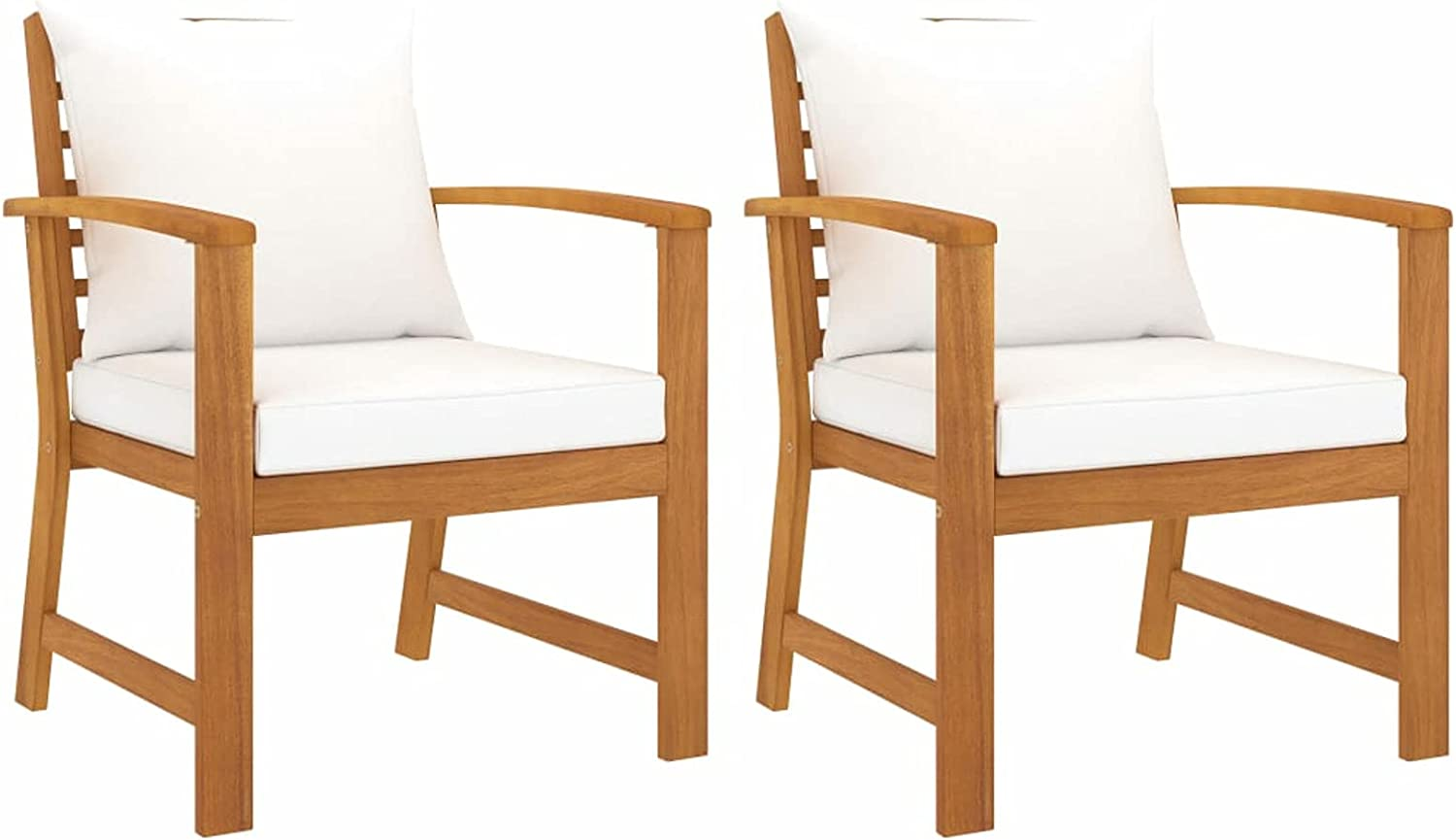 Tidyard 2 Piece Garden Chairs with White Cushion Acacia Wood Armchair Wooden Outdoor Dining Chair Patio Balcony Backyard Outdoor Furniture 23.8 x 23.8 x 31.9 Inches (W x D x H)